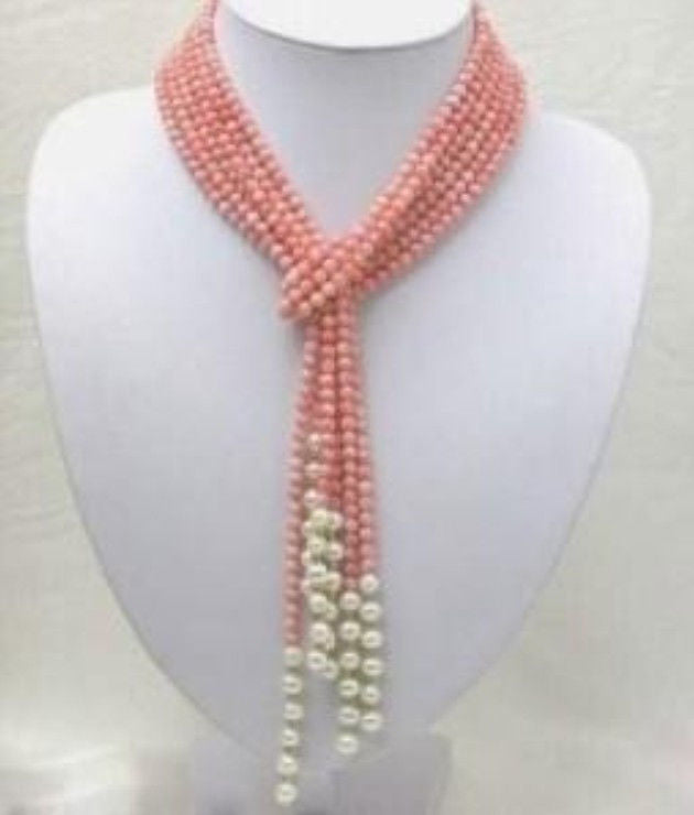 Selling jewerly >50 inch Pink Coral Freshwater Pearl Necklace AAA 1 product rating>free shipping