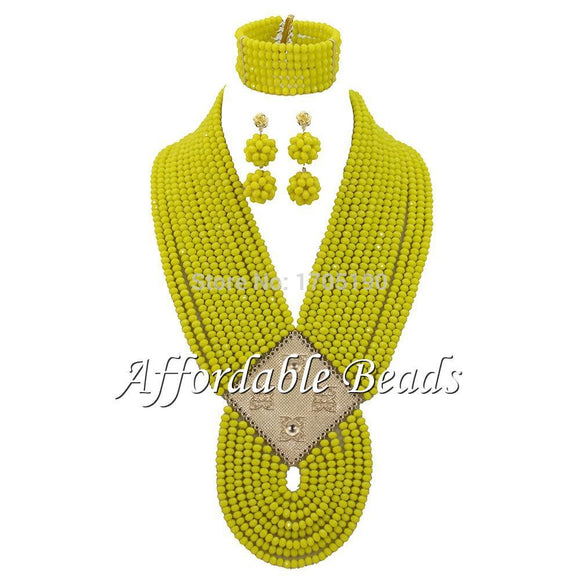 Banana Yellow African Jewelry Sets  New Nigerian Beads Jewelry