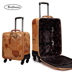 BeaSumore Fashion map PU Leather Rolling Luggage Spinner 24 inch Retro Wheel Suitcases 16/20 inch Men Cabin password Trolley