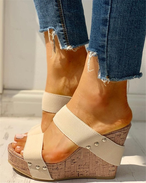 INS Leisure big size 43 slip on Women comfortable Wedges Shoes 2019 Summer Sandals Woman Platform High Heels Shoes Woman