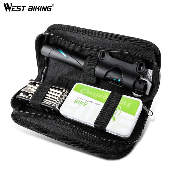 WEST BIKING Portable Bicycle Repair Kits Bag Multifunction Tools MTB Road Bike Cycling Equipment Wrench Bike Repair Tool Sets