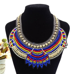 Liffly New Women's Chain African Beads Rope Necklace Jewelry National Collar Pendant Necklace Scarf Statement Necklace Female