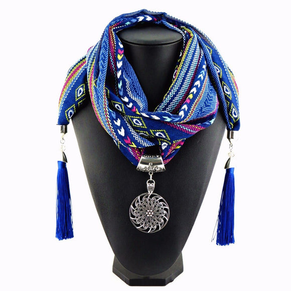 New design of Indian wind 4 color silk tassel long women's fashion scarf pendant necklace NK852