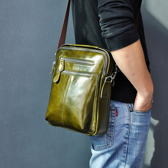 Quality Original Leather Male Casual Shoulder Messenger bag Green Fashion Cross-body Bag 10