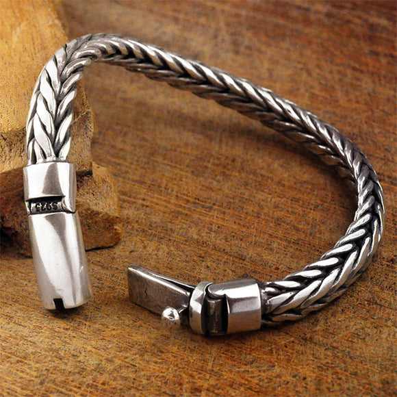 GAGAFEEL 925 Sterling Silver Jewelry Men Bracelet Toggle-clasps Heavy Man Bracelets 925 Silver Bangles Gift