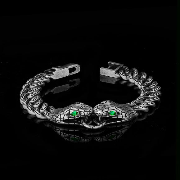 DNSCHIC 10MM Two Snakes Cuban Bracelet Hip Hop Bracelet Silver Rapper Style for Men Women 7/8 Inch Hip Hop Jewelry Fashion