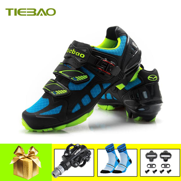 Tiebao cycling shoes men women breathable self-locking blue zapatillas ciclismo mtb SPD pedals sneakers mountain bike shoes