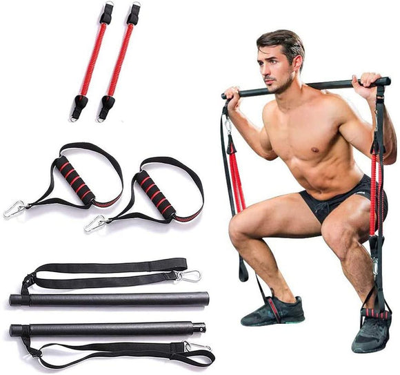 Pilates Stick Bar Resistance Trainer Gym Equipment  Crossfit Body Building  Abdominal Resistance Bands Rope Puller