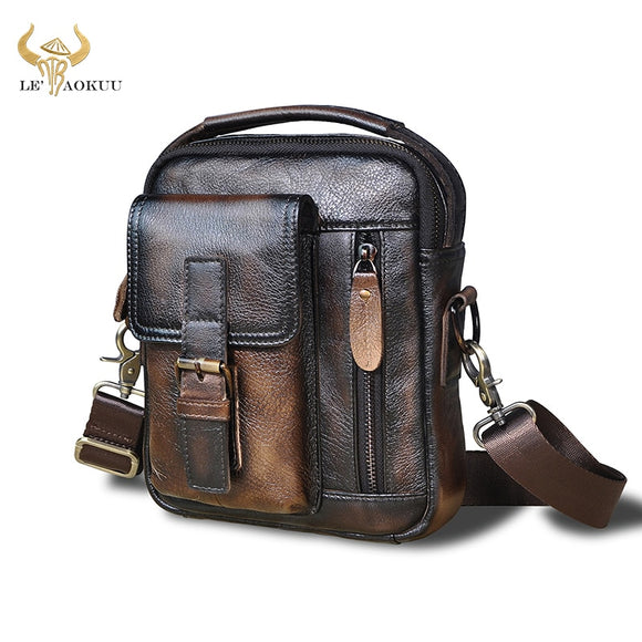 2020 Natural Leather Male Vintage Design Shoulder Messenger bag Fashion Cross-body Bag 8