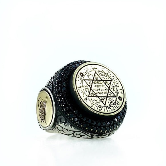 Seal of Solomon Star Of David Prayerful Top Quality Silver Men 'S Ring