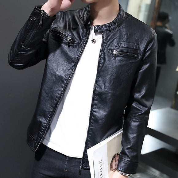Men's Casual Long Sleeve Motorcycle Leather Jacket