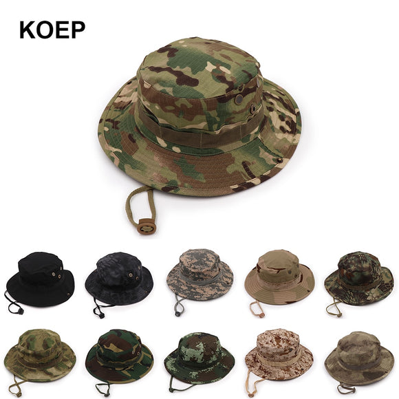 KOEP Nepalese Boonie Hats Tactical Airsoft Sniper Camouflage Tree Bucket Hat Accessories Military Army American Military Men Cap