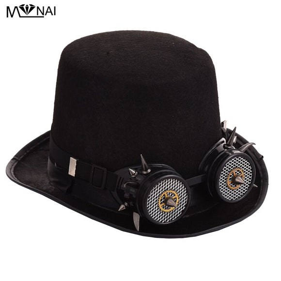Retro Vintage Women/Men Fedora Gothic Punk Style Top Hat Glasses Goggles Hat Cosplay Party Accessories