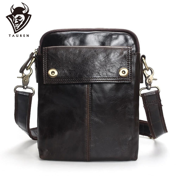 TAUREN Flap New Cheap Genuine Leather Vintage Casual Bag Men's Shoulder Bag Small Messenger Bag Travel Bags For Mobile Phone