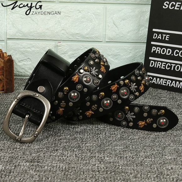 ZAYG Punk Men and Women Pin Buckle Belt Pure Copper Multicolored Bee Rivets Belt Cowhide Simple Wild Casual Pants Jeans Belt