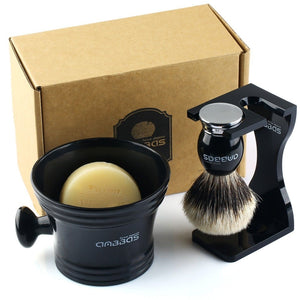4in1 Shaving Set,Silver tip Badger Shaving Brush Resin Alloy Handle
