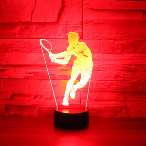 3D LED Night Light Play tennis Come with 7 Colors Light for Home