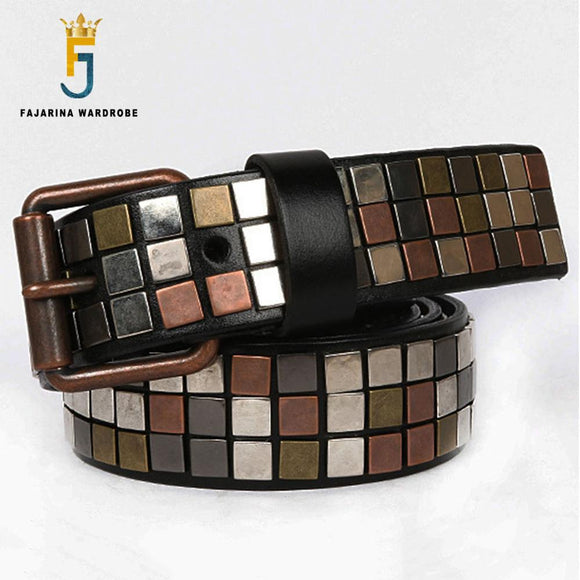 FAJARINA Brand Name New Unisex Design Men's Metal Patch Cow Skin Leather Belt Unique Punk Styles Belts for Men & Women N17FJ539