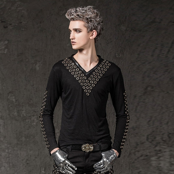 Men's V-Neck Rivet Runk Rock Long Sleeves Black T-shirt
