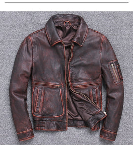 Free shipping.mens cowhide Jackets,genuine Leather  vintage brown coat plus size