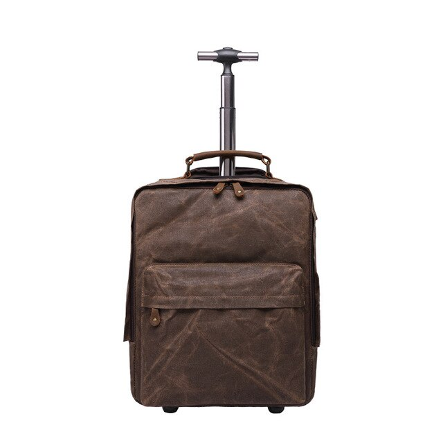 Dropship Mens Oil Waxed Multifunction Luggage Bags Fixed Casters Waterproof Canvas Trolley Backpacks 15.6
