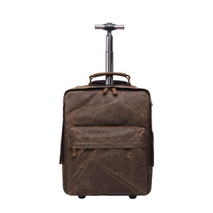 "Dropship Mens Oil Waxed Multifunction Luggage Bags Fixed Casters Waterproof Canvas Trolley Backpacks 15.6"" Laptop Trolley Bags"