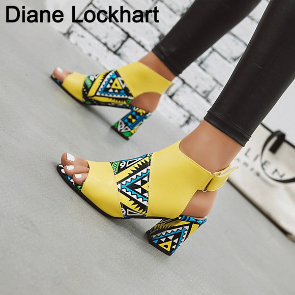 Women Stylish Print Sandals Boots Peep Toe Buckle Strap Summer High Heel Gladiator Shoes Woman Yellow Green sandalias mujer 2019