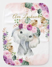 Load image into Gallery viewer, Bohemian Tropical Elephant Blush Purple Flowers Burp Cloth (with name)
