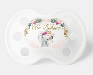 Bohemian Tropical Elephant Blush Purple Flowers Pacifier (with name)