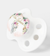 Load image into Gallery viewer, Bohemian Tropical Elephant Blush Purple Flowers Pacifier (with name)