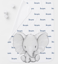 Load image into Gallery viewer, Elephant Personalized Navy Blue Name Boy Baby Blanket
