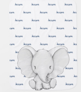 Elephant Personalized Navy Blue Name Boy Baby Blanket