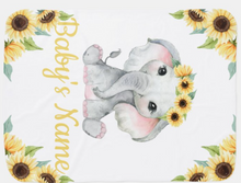 Load image into Gallery viewer, Sunflower Elephant Girl Baby Blanket Custom Name  (double sided)