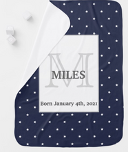 Load image into Gallery viewer, Midnight Blue and White Stars pattern Monogrammed Swaddle Blanket (with name)