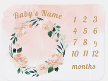 Load image into Gallery viewer, Personalized Name Floral Milestone Baby Blanket