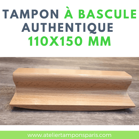 Tampon à bascule authentique en bois 110x150 mm