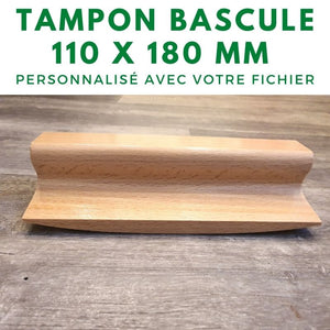 Tampon à bascule authentique en bois 110 x 180 mm