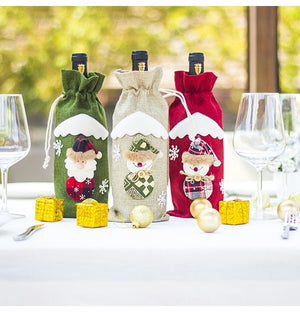 QIFU Santa Claus Wine Bottle Cover Merry Christmas Decorations for Home