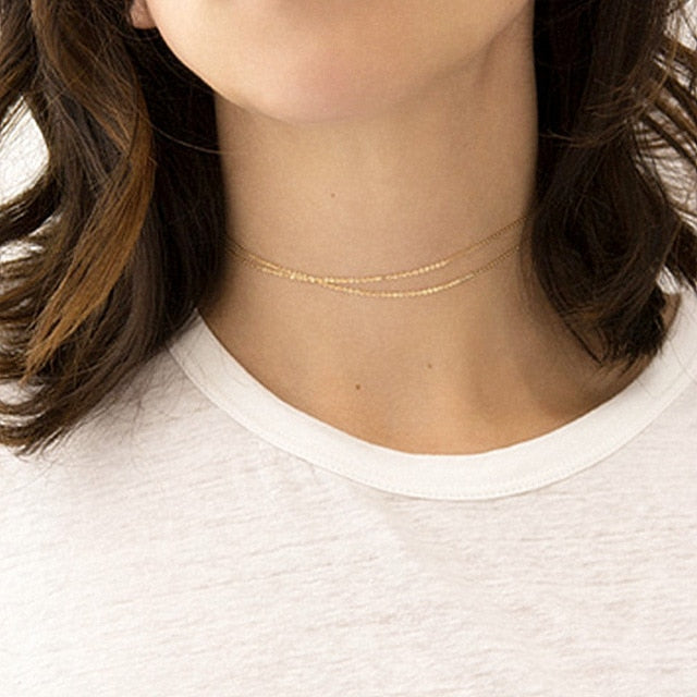 Copper choker multi layer necklace
