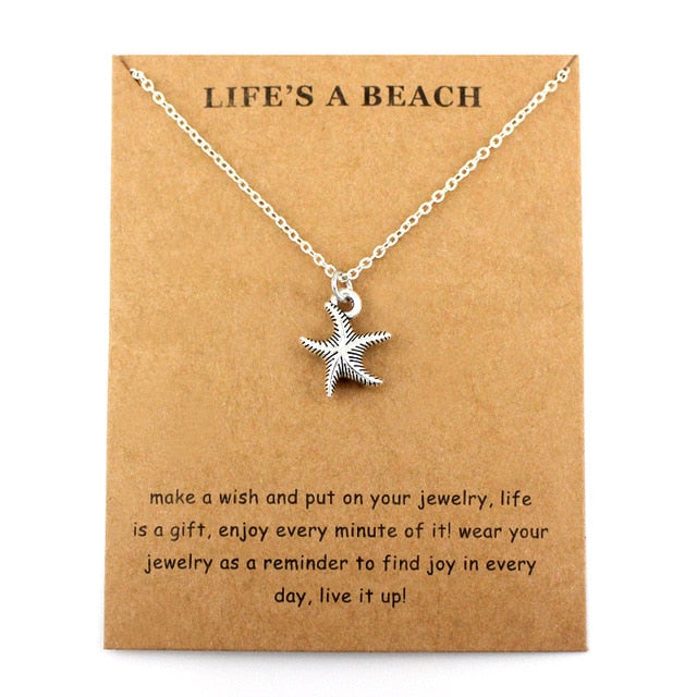 Starfish Conch Shell Ocean Waves Sea Turtle Fish Shark Necklaces