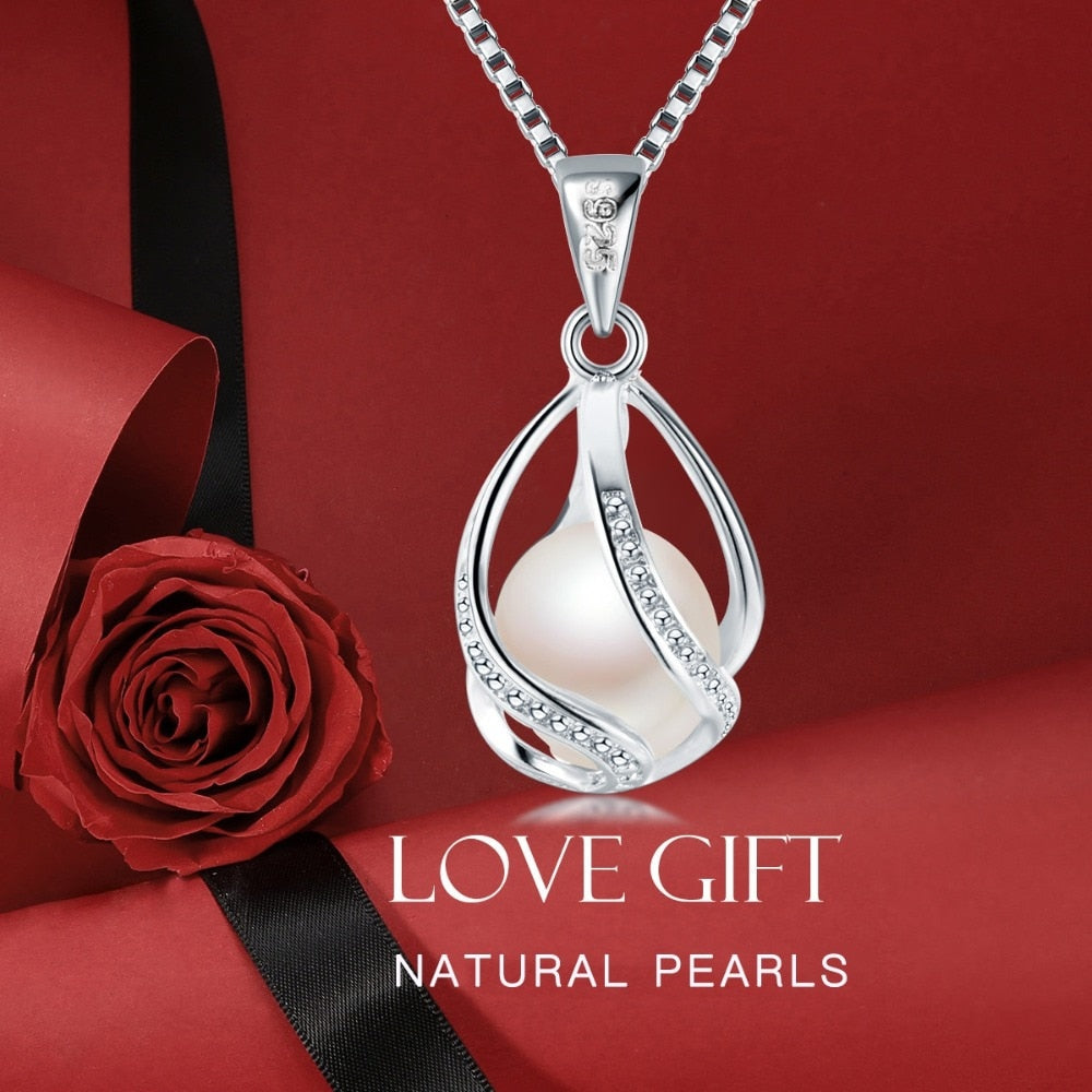 Genuine 100% Natural Freshwater Pearl Necklace in Sterling Silver