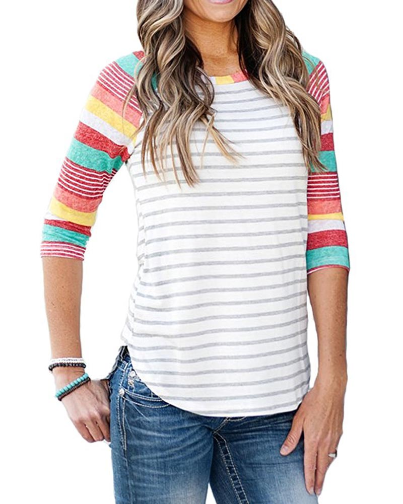 Autumn Women's Color block 3/4 Raglan Sleeve
