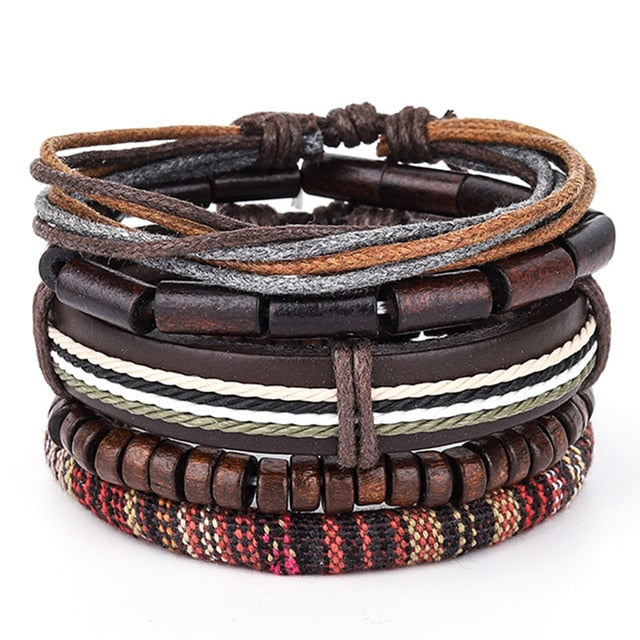 Wood Bead Leather bracelet