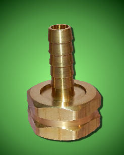 "Solid Brass Hose Connector - 3/4"" Female Garden Hose (GHT) x Hose Barb"