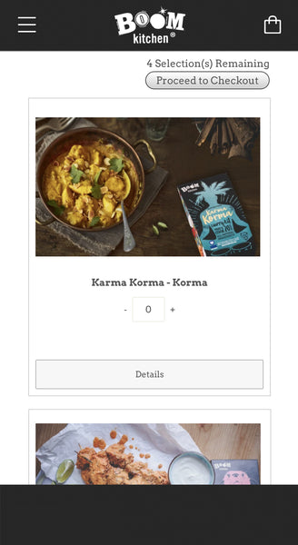 Choose up to 4 Curry Kit Subscription Recipes