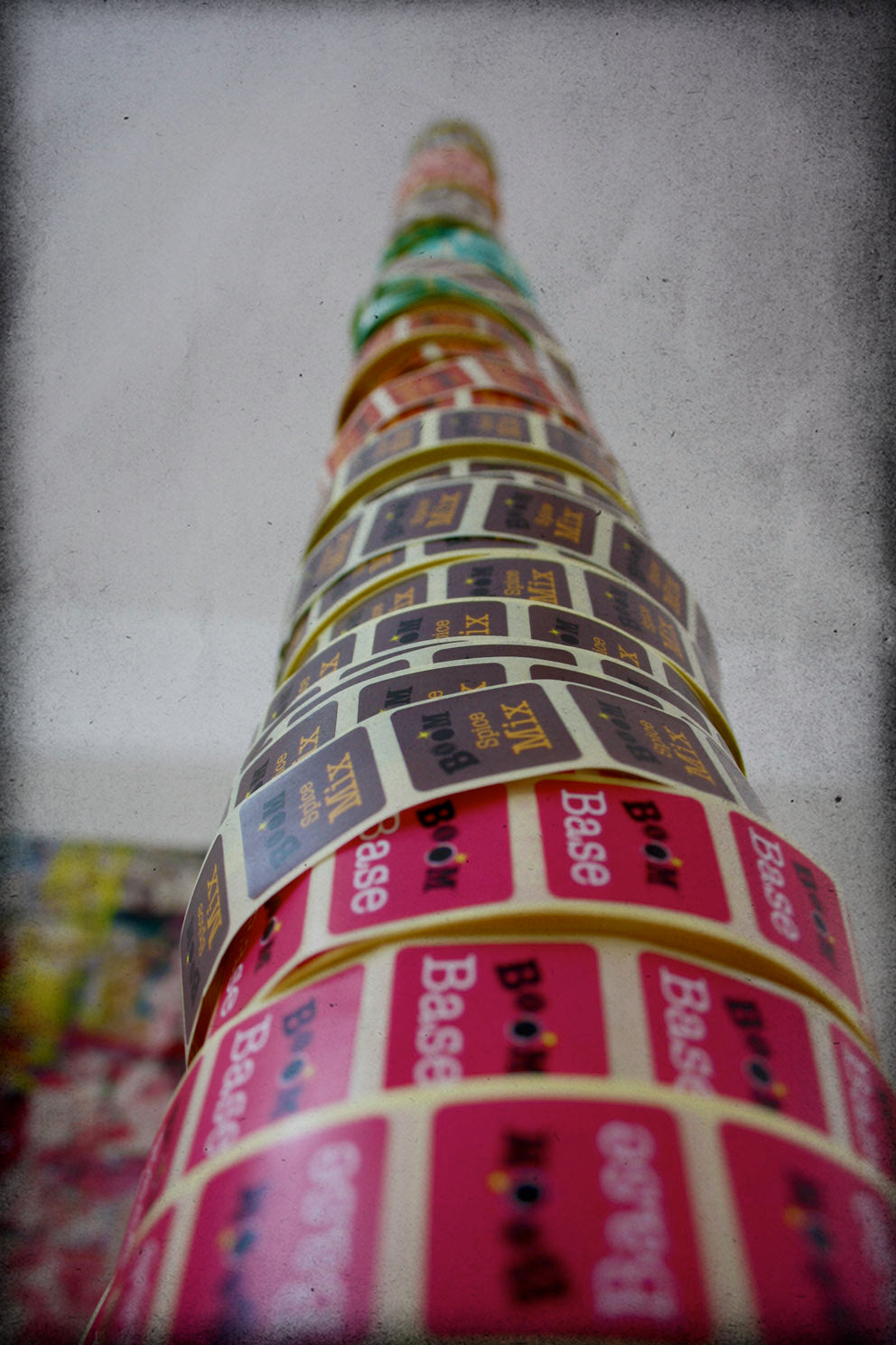 Tower made from Boom Kitchen Curry Kit sachet stickers