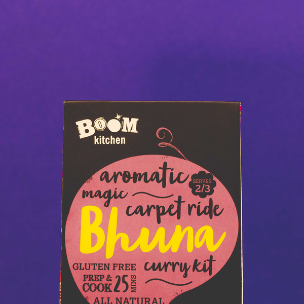 Boom Kitchen's Magic Bhuna Curry Kit on purple background