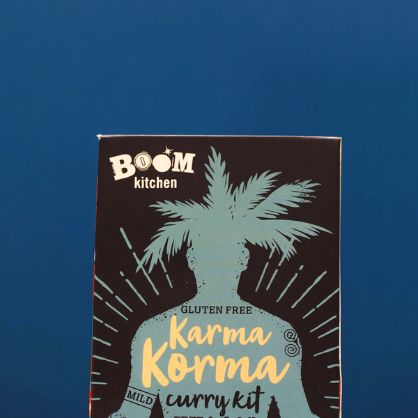 Boom Kitchen's Karma Korma curry kit on blue background