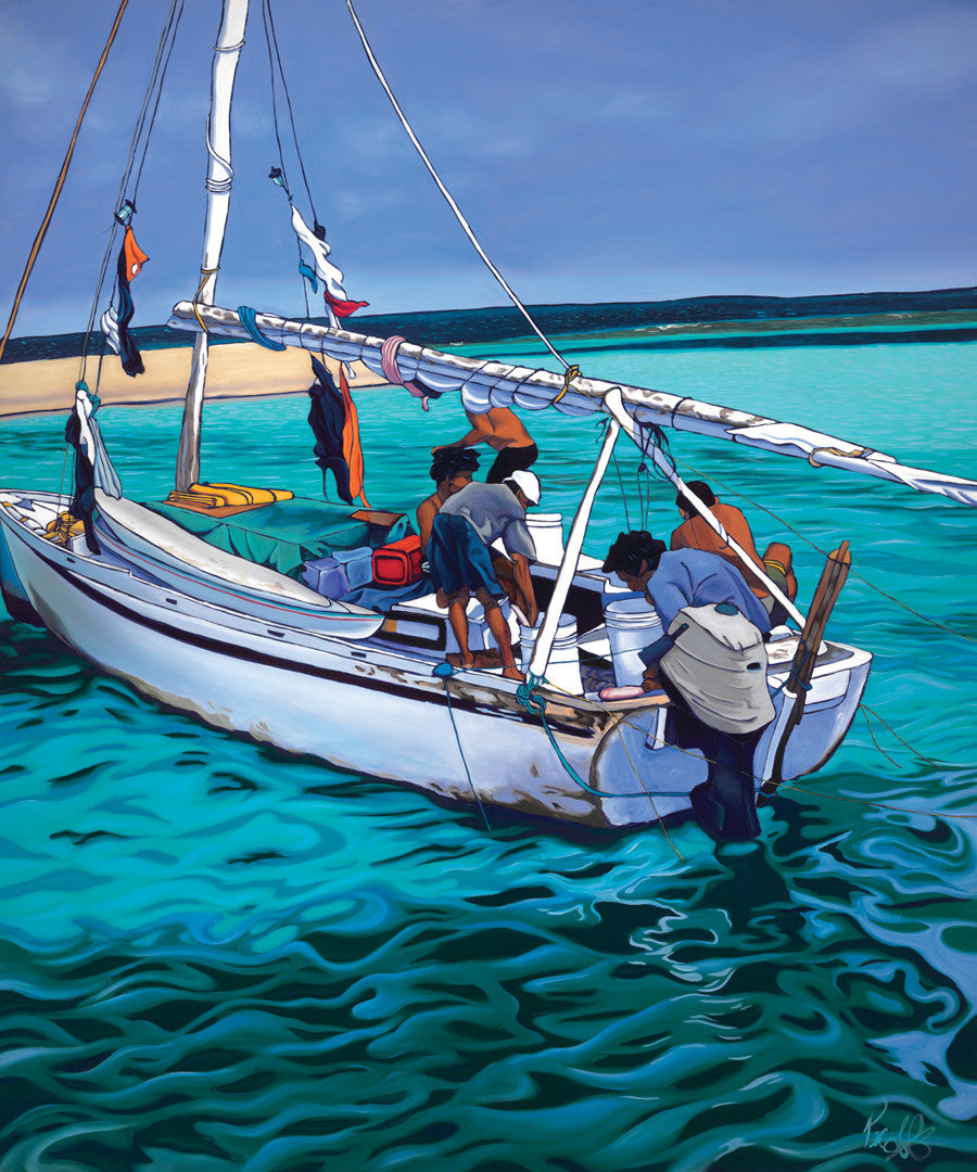Belizean Fishermen Perfect Giclee on Metal