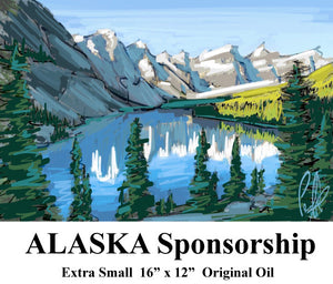 "Alaska Sponsorship - Extra Small 16"" x 12"" Original Oil"